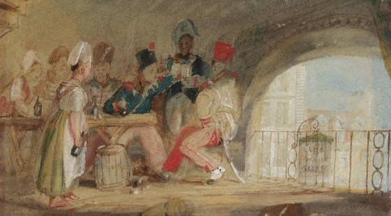 French soldiers quench their thirst in a tavern.