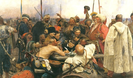 Reply of the Zaporozhian Cossacks depicts a band of 17th Century Ukrainian cavalrymen drafting a sarcastic reply to an Ottoman surrender ultimatum.