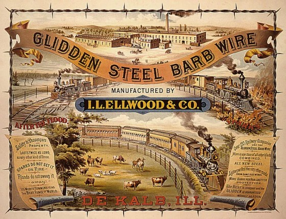 An Illinois farmer named Joseph Farwell Glidden made a fortune on his invention -- barbed wire.