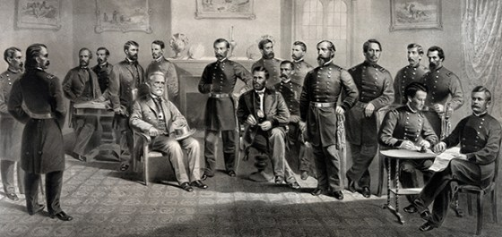General Robert E. Lee surrenders the Army of Northern Virginia to Ulysses S. Grant in Wilmer McLean's parlour. Image courtesy WikiCommons (public domain).