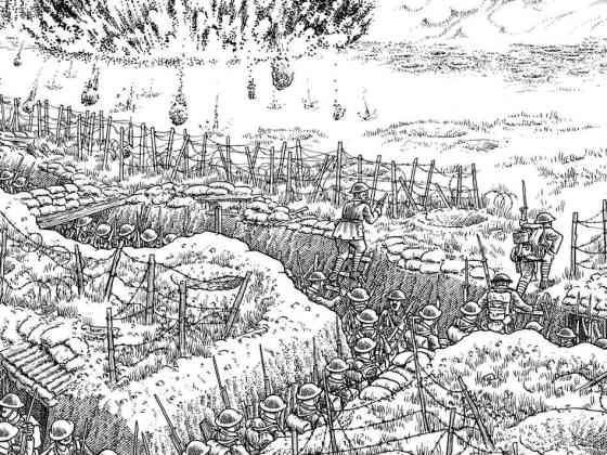 One panel of Joe Sacco's recently-released Great War: A 24-foot long fold out illustration of the horror of the Western Front.