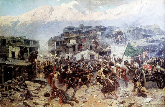 For more than 2,000 years, the areas surrounding what is now Sochi have been invaded by Huns, Mongols, Turks and Russians. Here 19th Century Circassians fight the Tsar's armies.