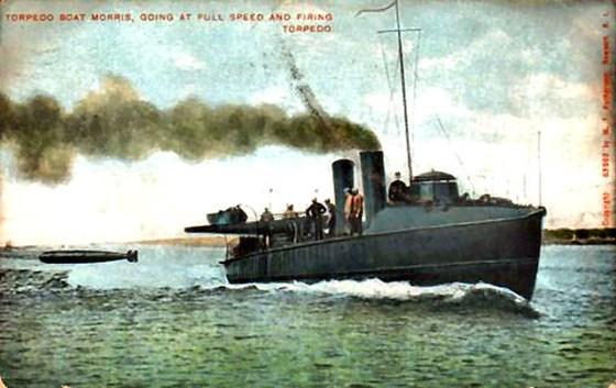 A 19th Century postcard of the USS Morris test firing an early torpedo.
