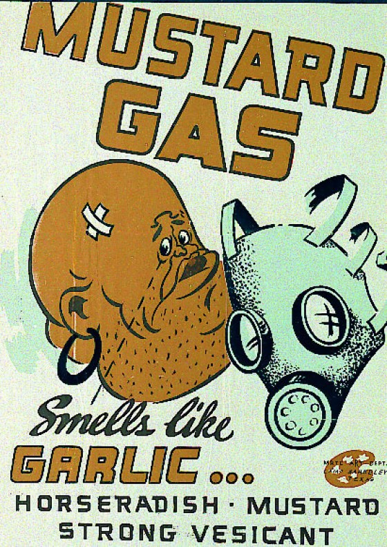 A World War Two-era training poster about the signs of a mustard gas attack.