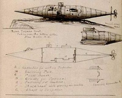 A sketch of the first Southern submarine, Pioneer.