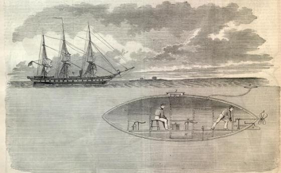At the outbreak of the Civil War, submarines captured the public's imagination as this drawing from Harper's Weekly shows.