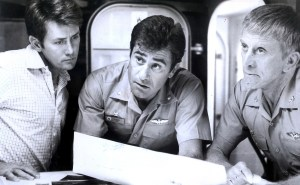 (L to R) Martin Sheen,  James Farentino and Kirk Douglas decide whether or not to use the USS Nimitz to change history in the 1980 cult classic The Final Countdown.
