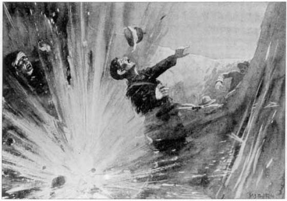 A newspaper illustration of Arthur Shout being blasted by his own grenade.
