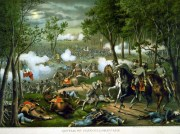 A fanciful portrayal of the death of Stonewall Jackson at the Battle of Chancellorsville.