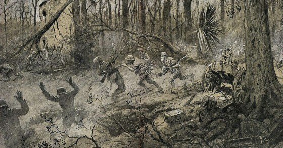U.S. Marines show the Germans the cold steel during the Battle of Belleau Wood, 1918.