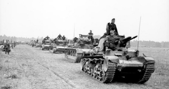 German panzers racing through France in June of 1940. Image courtesy the German Federal Archive via WikiCommons.