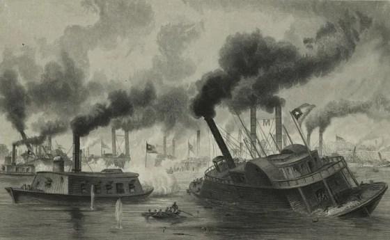 Union ironclads brush aside an impromptu Confederate fleet at Memphis, June 6, 1862.