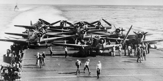 U.S. Navy dive bombers on the deck of the USS Enterprise during the Battle of Midway -- two years to the day prior to D-Day.