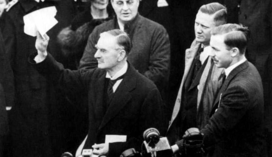 Neville Chamberlain announcing what he believed was a war-averting agreement with Hitler in 1938.