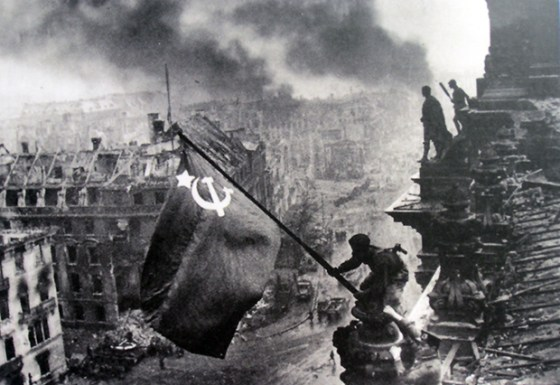 Parts of this picture were added later by Soviet propagandists.