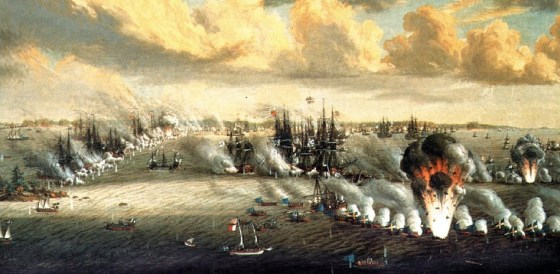 Swedish ships take on the Russian navy in 1788.