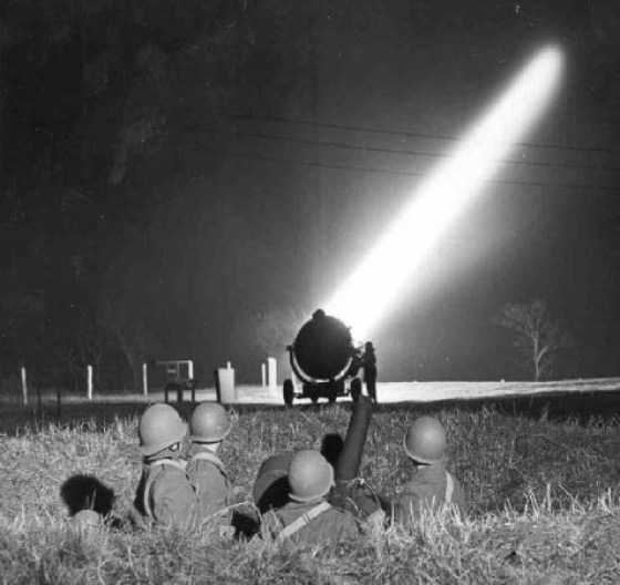Searchlights scanned the skies above Los Angeles on the night of Feb 25 looking for enemy raiders.
