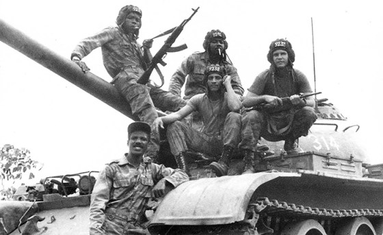 A Cuban tank crew in Angola in 1987. Tens of thousands of Cuban soldiers fought in that country's civil war during the 1970s and 80s.
