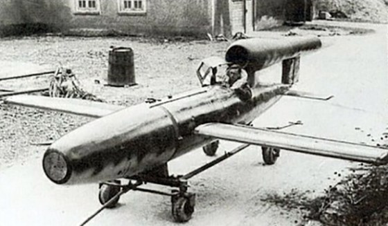 A manned version of the German V-1 rocket was designed for late-war suicide attacks. (Image source: WikiCommons)
