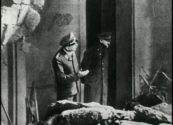 Adolf Hitler emerges briefly from his Berlin bunker for the last time in April of 1945.