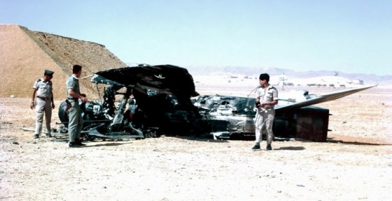 Israeli personnel examine the wreckage of Egyptian warplanes destroyed on the ground in 1967. Image courtesy WikiMedia Commons.