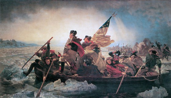 A fanciful portrayal of Washington's Delaware crossing on Christmas, 1776. Image courtesy WikiMedia Commons.