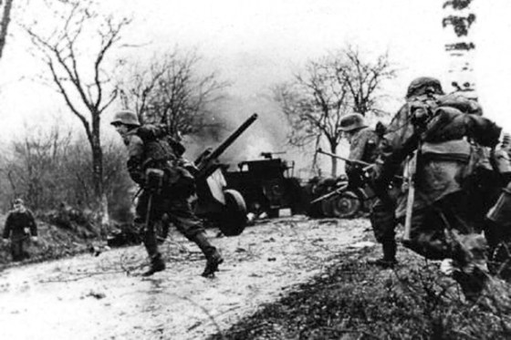 German troops advance in the Ardennes on Dec. 16, 1944.
