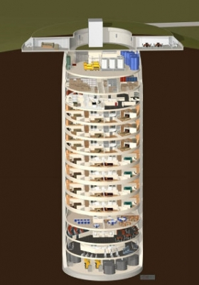 "A cutaway of a Kansas missile silo turned ""survival condo"". Click to enlarge. (Image courtesy SurvivalBunker.com)"