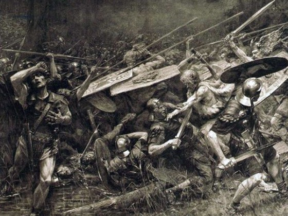 Three Roman armies are surprised and destroyed by Germanic warriors in 9 CE. (Image source: WikiMedia Commons.)