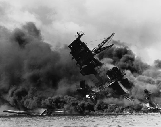 The USS Arizona burns, Dec. 7, 1941. (Image source: WikiCommons)