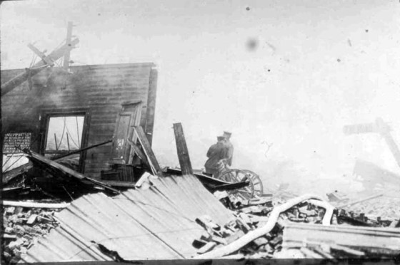 The aftermath of the Black Tom Island munitions explosion of 1916. The blast, which rocked New York Harbor and injured hundreds, was carried out by German agents operating in the U.S. Code breakers with military intelligence would soon ramp up efforts to intercept enemy messages and net German spies operating in the U.S. (Image source: WikiCommons Media)