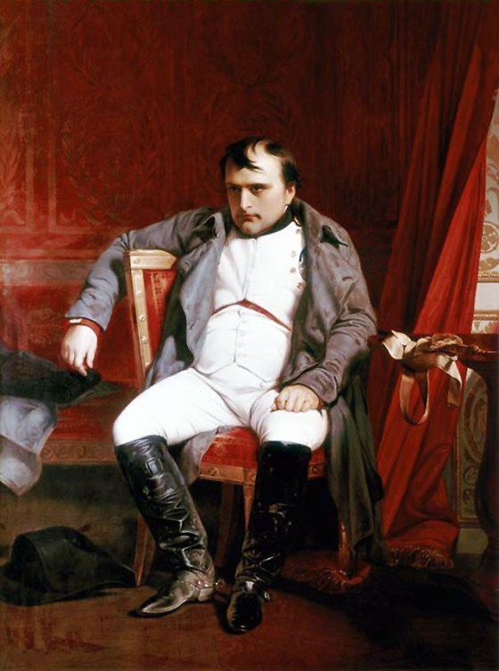 Napoleon Bonaparte abdicated at Fontainebleau, by Paul Delaroche, 1845. (Image source: WikiCommons)