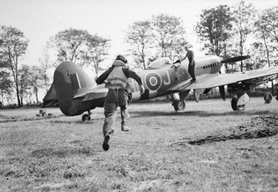The RAF's No. 164 Argentine Squadron, which flew Hawker Typhoons like this one, flew over Normandy in 1944. (image source: WikiCommons)