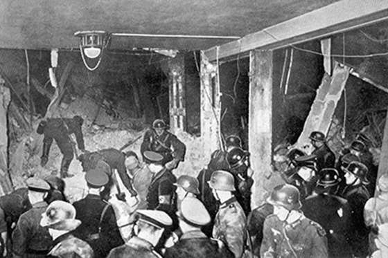 The aftermath of the 1939 bomb plot. (Image source: WikiCommons)