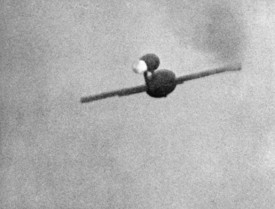 A V-1 rocket as seen from the gun camera of a British fighter. (Image source: WW2Today.com)