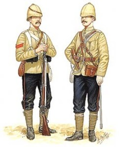 By 1878, the British Army had done away with the centuries old red coat in favour of this new khaki battle-dress.