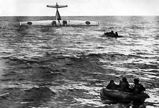 Survivors from a Swedish PBY paddle for safety after a 1952 Friday the 13th encounter with Soviet jets. (image source: WikiCommons)