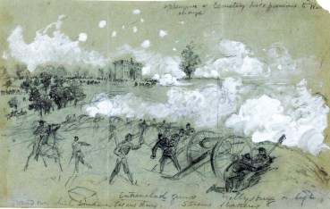 Northern artillery repels Picket's Charge, Gettysburg, July 3, 1863.