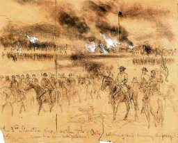 George Armstrong Custer leads his men from Mount Jackson in the Shenandoah Valley, October, 1864.