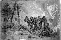 Yankee troops rush their wounded comrades from the inferno of the Virginia Wilderness, 1864.