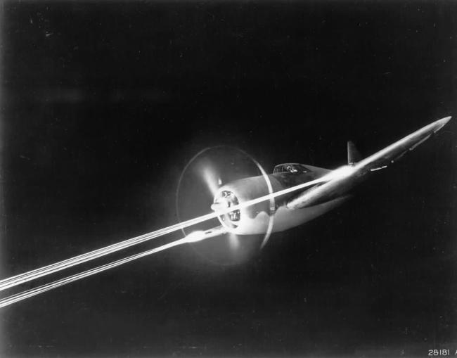 The P-47 carried eight .50 caliber machine guns. (Image source: WikiCommons)