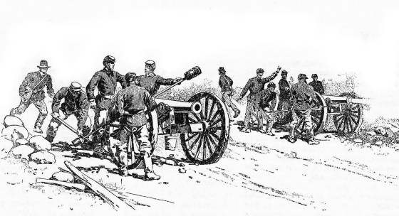 A Union artillery battery at Gettysburg.