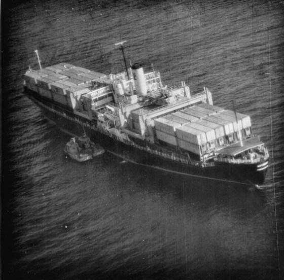 The SS Mayaguez seen through the lens of a USAF recon plane.
