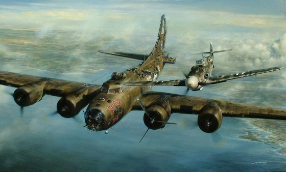 "War can bring out the worst in human beings, but sometimes the best as well. The crew of a crippled B-17 couldn't believe it when an enemy fighter gave them an armed escort to safety. Artist John Shaw of Liberty Studios immortalized the incident ""Higher Call"". (Used with permission of the artist)"