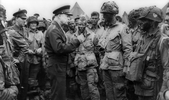 Eisenhower meets the troops before D-Day. (Image source: WikiCommons)