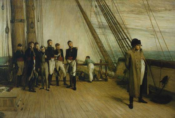 Napoleon sailing into exile aboard HMS Bellerophon. (Image source: WikiCommons)