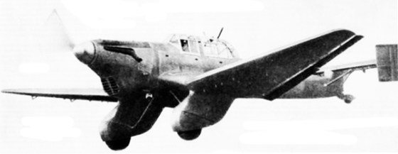 A prototype Stuka. Note the twin-tail configuration.