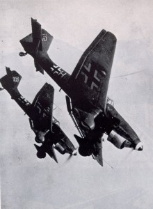 Look out below: Stukas diving. (Image source: WikiCommons)