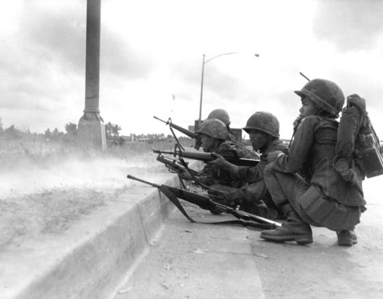 South Vietnamese troops fend of a communist attack on Saigon. Communist troops poured out of the network into the area around the capital right up until the war's final days. (Image source: WikiCommons)