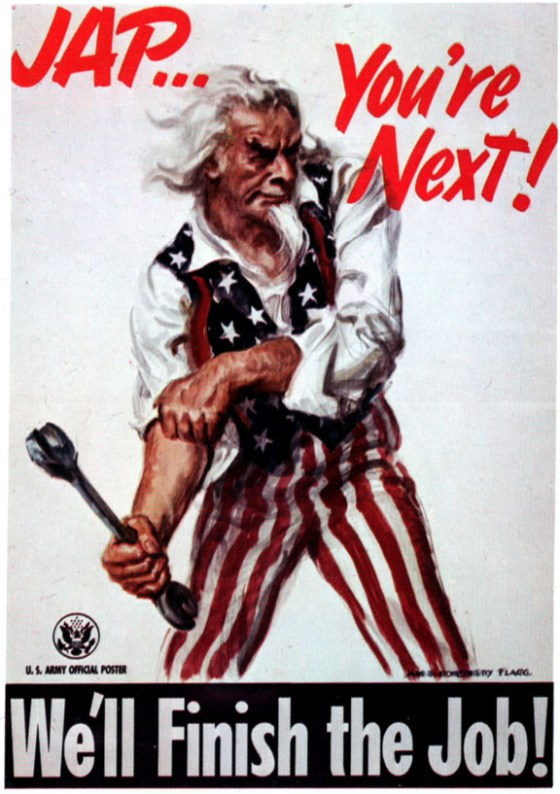 Sam Strikes Back! A summer of 1945 poster by Flagg urges Americans to hang in there until Japan quits. (Image source: WikiCommons)